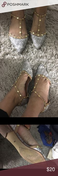 Studded pointed toe flat with T strap These are barely worn designer inspired flats with a very neutral snake skin print with a nude t strap lined with matte gold studs! Great for work, jeans and t shirt look, or some cute skirts! Halogen Shoes Flats & Loafers