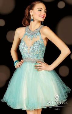 Beaded Haltered Tulle Dress by Alyce Sweet 16 3620 $318