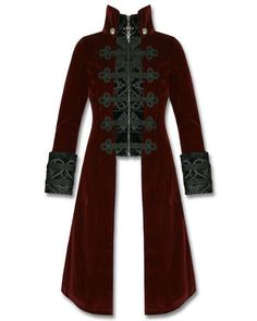 Exquisite Steampunk Vampire style long jacket in soft burgundy/wine red velveteen polyamide fabric. Front zipper fastening with black damask printed placket panel, complete with ornate military style braiding detail across the chest. Long sleeves with black damask upturned cuffs featuring matching braiding trim and zippers, plus high collar, finished perfectly with fixed decorative metal buttons and strap across the back!