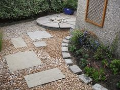 Small courtyard garden - mixed paving, gravel and planting