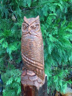 ORIGINAL Hand Carved HORNED OWL Wood Carving Cedar by RCWaitsArt