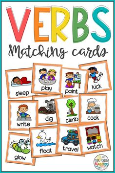 Verbs cards perfect to practice vocabulary in a fun way. Great to be used as literacy centers. You can use them to introduce new vocabulary, review it, mix and match, as well as play memory games and other matching games. 96 verbs included. Cards with pictures and words, only pictures, only words. Check the preview for details. Daily 5 Activities, Literacy Activities, Summer Activities, First Grade Curriculum, First Grade Science, Literacy Stations, Literacy Centers, Matching Cards, Word Work