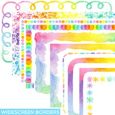 These borders/backgrounds were created to fit into standard Google Slides and Powerpoint templates. #pastelrainbow #pastelcolors #clipartforteachers #tptclipart #rainbowclassroom #rainbowdecor #rainbowtheme Watercolor Border, Pastel Watercolor, Rainbow Clipart, Bowling Party, Rainbow Decorations, Rainbow Theme, Classroom Themes, Clipart Images, Pastel Colors