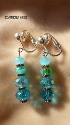 Clip On Swarovski Crystal Earrings Ocean by RomanticallyVintage, $22.00