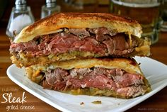 Pub-Style Steak Grilled Cheese with Beer-Braised Onions & Creamy Horseradish Dipping Sauce