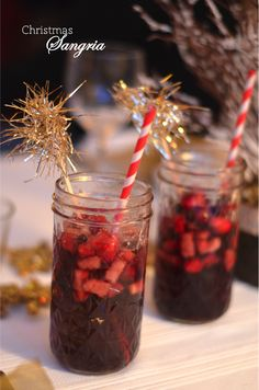 "My sister and I were put in charge of the ""signature cocktail"" at our annual get-together with family friends last Christmas. Dessert For Dinner, Dessert Drinks, Party Drinks, Fun Drinks, Yummy Drinks, Beverages, Cocktails, Desserts, Winter Sangria"