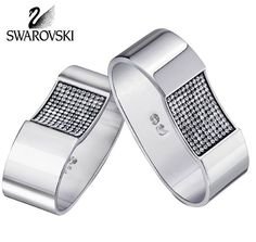 ad61ea3b7917f1 Swarovski Clear Crystal Silver Color AMBIRAY NAPKIN RINGS Set of 2  5021581