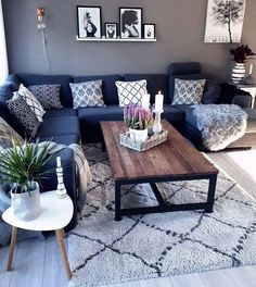 Home Living Room Wood Coffee Tables Ideas For 2019 Blue Sofa Living, Blue Living Room Decor, Blue Couch Living, Brown Living Room, Living Room Colors, Blue Sofas Living Room, Blue Grey Living Room, Living Room Paint, Couches Living Room