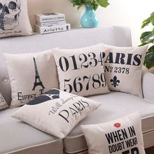 Paris vintage retro style cotton and linen cushion sofa pillowcase Nor … - Bedrooms For Girls