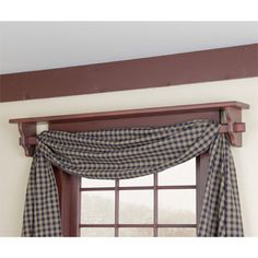 Shelf above window doubles as a curtain rod!! I LOVVVEEEE this!!!!  ....Red Window Shelf with curtain rod in Red