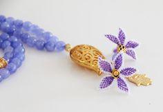 Light Sky Blue Jade Tasbih, 99 Count, Oya Lace Flowers, Gold Plated Tulip Connector and Hamsa, Misbaha, Rosary, Prayer Beads,Islamic Tasbeeh by Vanilleecom on Etsy