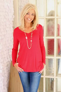 One Faith Boutique - Basically Basic V Neck Long Sleeve T-Shirt ~ Red ~ Sizes 4-10, $30.00 (https://www.onefaithboutique.com/best-sellers/basically-basic-v-neck-long-sleeve-t-shirt-red-sizes-4-10/)