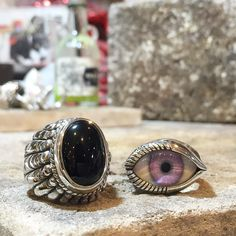 Fresh from our London workshop: Our Large Navajo with Onyx and a Purple Horizontal Eye Ring. #thegreatfrog #handmadejewelry #sterlingsilver