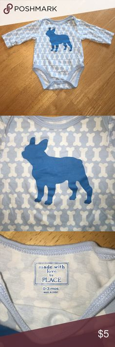 Children's Place 0-3m long sleeve onesie So cute !! Like new:) 0-3 m blue and white onesie from Children's Place. Patterned bones and dog on front- perfect for your little one to represent your furry friend! From a smoke free home :) Children's Place One Pieces Bodysuits