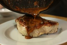 Perfect Double-Cut Rosemary Infused Pork Chop with Hard Cider Caramel Sauce Rosemary Pork Chops, Glazed Pork Chops, Thick Pork Chop Recipe, Pork Chop Recipes, Hard Cider Recipe, Sous Vide Pork Chops, Pork Chop Dishes, Cooking Red Potatoes, Cooking Recipes