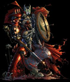 Medieval Spawn. A knight from the medieval era who was killed and made a deal with Malebolgia. He brought back as a new Hellspawn. Faced Violator and was killed by Angela. Created by Neil Gaiman and Todd McFarlane
