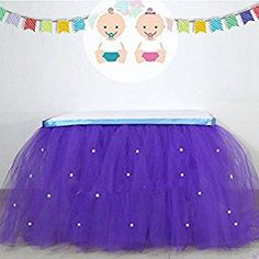 Amazon.com: Aimeart Tablecloth Round Rectangular Handmade Tulle Pearl Table Skirts, Purple: Kitchen & Dining