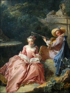 The Music Lesson, Francois Boucher, Musée Cognacq-Jay (Photo by T. French Paintings, Old Paintings, French Rococo, French Art, Rococo Painting, Beautiful Nature Pictures, Romance Art, Baroque Art, Renaissance Paintings