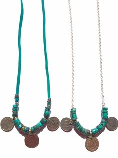 20 rounds og gorgeously genuine turquoise make for a statement when paired with vintage turkish coins. Indie Twenty Jewelry
