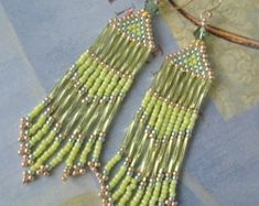 Seed Bead Fringe Earrings - Long Black and Gold Beaded Crystal Earrings - Beadwork Jewelry Seed Bead Earrings, Fringe Earrings, Crystal Earrings, Beaded Earrings, Crystal Beads, Beaded Jewelry, Crystals, Bugle Beads, Beading Tutorials