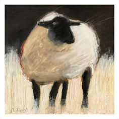 """""""Suffolk Sheep"""" by Lois Dahl, Bellingham // This impressionistic style painting was originally done using oil stick over a gouache underpainting on illustration board. // Imagekind.com -- Buy stunning fine art prints, framed prints and canvas prints directly from independent working artists and photographers."""