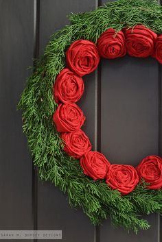 Christmas Wreath: Rolled Fabric Flowers and Evergreens, from sarah m. dorsey designs