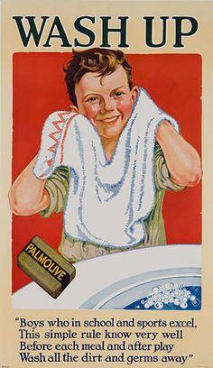 DP Vintage Posters - Wash Up Original Palmolive Soap Advertising Poster boy