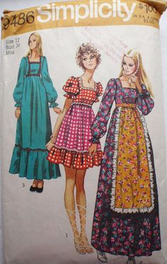Women's Vintage Sewing Pattern  Bohemian Dress  by Shelleyville, $8.00