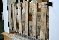 Would be nice as a gate for the bar. Could put some old distressed wine labels on it. DIY : pallet stairs gate in wood pallet