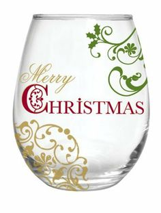 Barware, Traditions of Christmas,Handpainted Stemless Wine Glass 21 oz,Glass,3.75x4.75 Inches by Cypress Home. $11.88