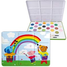 Vilac Melusine Baby Shape and Color Recognition Toy Tin Large  This large tin painting set is designed in France by Melusine and contains 21 paint cakes in a kaleidoscope of colors and 2 paint brushes. Recommended for children from 4 years.           Vilac Melusine Baby Shape and Color Recognition Toy Tin Large Features     Highest quality finish, with rich, bright colors   Hours of creative fun   Designed in France   Vilac has been the maker of high quality, award winning toys since..