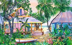 Sophias Rest, a client loved the painting so much he built the houses on land he owned in Exumas.  http://eileenseitz.com/index.php/life-imitates-art/  You can buy it as a poster print of limited edition giclee print. http://eileenseitz.com/index.php/shop-page/?cat_id=4004_id=31_id=103