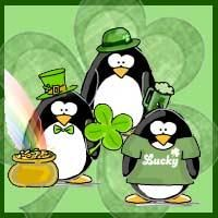 St. Patrick's Day penguins - gifts and goodies by Jen Goode #stpaddys #cafepress #AllAboutThatGreen