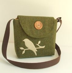 Harris Tweed - Bird Applique - Messenger - Cross Body Satchel - Olive Green via Etsy