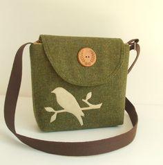 Harris Tweed - Bird Applique - Messenger - Cross Body Satchel - Olive Green via Etsy. Really love this!!