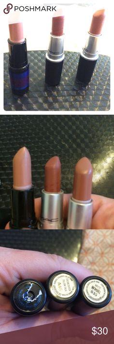 MAC Nudes lipstick trio Almost new 90% full limited edition nude , pillow talk, and whirl lipsticks. Matte and creamsheen textures. MAC Cosmetics Makeup Lipstick