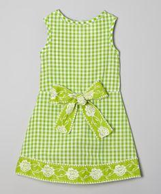 Spring Green Gingham Floral A-Line Dress - Toddler | zulily