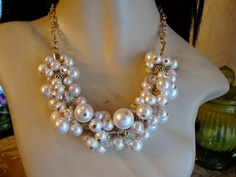 QUEEN OF THE SEA  glass pearl & swarovski crystal cluster necklace