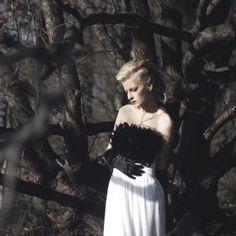 white dress#black and white#wood#elegance#wedding dress#