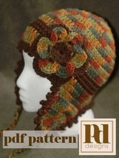 Picot Edged Earflap Hat with optional band & flower PDF Pattern | PDDesigns - Patterns on ArtFire