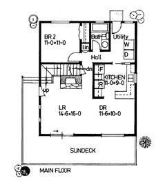 Cabin Style House Plan 90847 with 2 Bed, 2 Bath Cabin House Plans, House Plans One Story, Family House Plans, Cabin Kits, Country House Plans, New House Plans, Small House Plans, House Floor Plans, Shabby Chic Cabin
