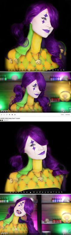Easy Mardi Gras body paint tutorial!
