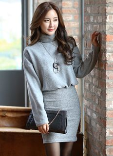 Elegant dress from styleonme. korean fashion, women fashion, feminine look, classy look Korean Fashion Pastel, Korean Fashion Shorts, Korean Fashion Winter, Korean Street Fashion, Winter Fashion Outfits, Fall Outfits, Womens Fashion For Work, Trendy Fashion, Boho Fashion