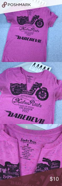 Selling this Lucky Tees Pink S/S Motorcycle Graphic T-Shirt on Poshmark! My username is: jolenesattic. #shopmycloset #poshmark #fashion #shopping #style #forsale #Lucky Tees #Tops