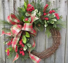 Holiday / Christmas Wreath / Grapevine Berry Wreath with Rustic Plaid / Natural Christmas Wreath / Horn's Handmade / Christmas Decoration by HornsHandmade on Etsy https://www.etsy.com/listing/252803458/holiday-christmas-wreath-grapevine-berry
