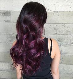 Mulberry magic heavenly hair в 2019 г. purple hair, mulberry hair color и d Caramel Ombre Hair, Brown Ombre Hair, Blonde Ombre, Purple Hair Highlights, Hair Color Purple, Purple Ombre, Ombre Colour, Dark Purple, Mulberry Hair Color