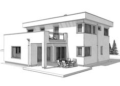 The detached house ELK Haus 186 with flat roof is a modern home in the Bauhaus style of ELK prefab house. On a total of 186 square meters, the ELK Haus Dream House Drawing, House Design Drawing, Architecture Drawing Sketchbooks, Architecture Concept Drawings, Architecture Design, Two Story House Design, Living Haus, Flat Roof House, House Construction Plan