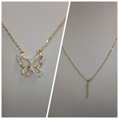"""Fancy Jewelry 14 kt yellow gold butterfly necklace 17"""" long chain with 1"""" extension chain with cubic zirconia. Jewelry Necklaces"""