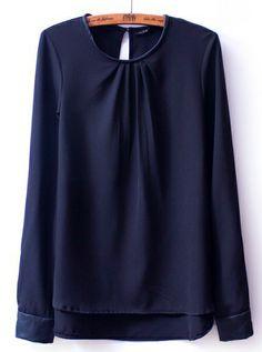 Black Long Sleeve Contrast PU Leather Dipped Hem Blouse US$21.97