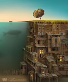 The World Where Everything's an Iceberg: 90% Is Under the Surface -- Concept art by Gediminas Pranckevicius, thanks to io9. (2 of 4)